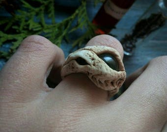 Dragon Ring  Eye ring Dragon Eye ring Dragon Jewelry  Fantasy ring  Witch ring Fantasy Jewelry  White ring  Green eye ring Polymer Clay