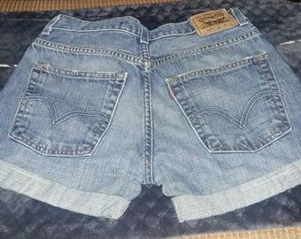 Levi's Strauss cuffed denim shorts high-waisted