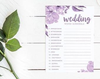 Purple Floral Bridal Shower Word Scramble