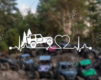 DECAL – [Heartbeat Jeep v2] - Vinyl Decal, Bumper Sticker, Jeep Sticker, Jeep Decal, Wrangler Decal, Jeep Wrangler Accessory, Jeep Girl