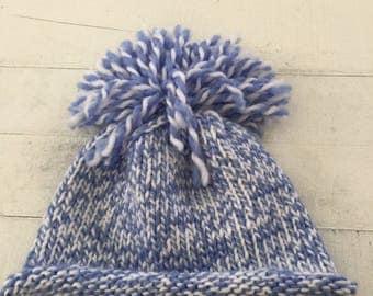 Hand Knit Baby/Toddler Hat, Blue, White, Beanie, Pom Pom