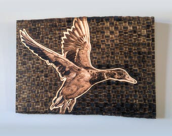 Wood Burned Pyrography Duck Wall Art with Live Wood Edge
