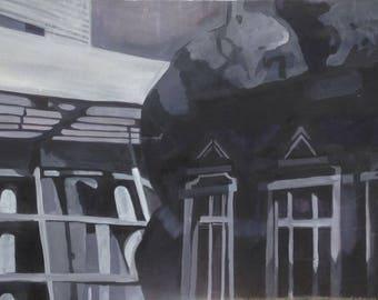 Original Acrylic Painting of Buildings