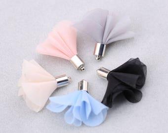 00035 20 pieces Earrings pendant/flower/gauze/petals/flower/tassels/handmade jewelry/materials/DIY/key rings/mobile phone hangings