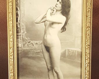 "REPRODUCTION:  Art nude, c. 1880 7"" x 11"", sepia tones, in wooden frame, photographer unknown"