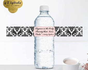 "Audrey Hepburn Quote Water Bottle Labels with quote, blush pink, sticker decor favors, 9.75x1.25""/5 Per Sheet {Designed For Avery® 22845}"