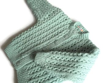Handknitted Baby, 6-12 months, lacy vintage cardigan, duck egg blue, long sleeve cardigan,