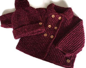 """Hand knitted girl's baby coat and matching bobble hat in deep pink, to fit 20"""" chest, one available, vintage style babywear"""