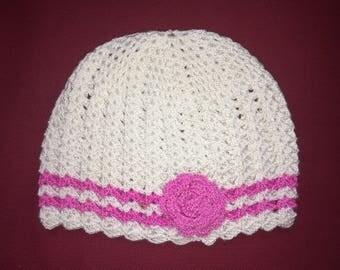 Handmade Crochet Baby Girl Hat, White/New