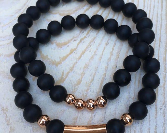 Free Shipping within NL Braceletset of 2 bracelets bracelet natural stone gemstone rose gold