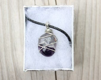 Wire Wrapped Necklace, Gemstone Wire Wrapped Necklace with Leather