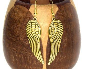 Wings Golden Angels color Angel Wings clip earrings gold