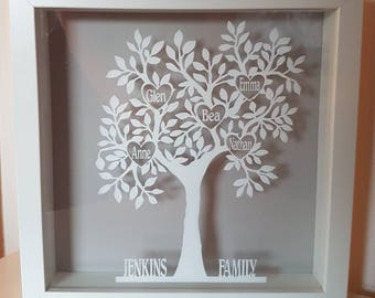 Family tree frame - family tree vinyl - family tree papercut design - mothers day gift - birthday gift - Personalised family tree