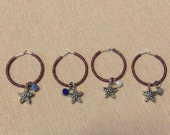 Purple Starfish Wine Glass Charms