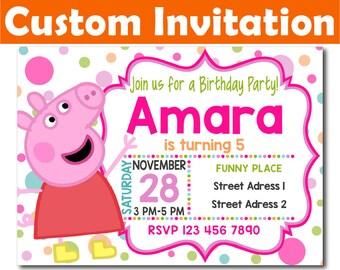 SALE -50%: Personalized Peppa Pig Invitation, Peppa Pig Birthday Invitation, Peppa Pig invitation, Peppa Digital Invitation, Peppa invite