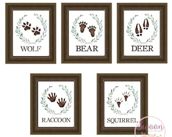 Animals Tracks, Boy Woodland Nursery, Deer Bear Wolf Raccoon, Woodland Animals, Woodland Nursery, Baby Boy Woodland Nursery, Animal Print