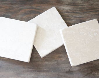 Honed Marble Square Coaster- Set of 6