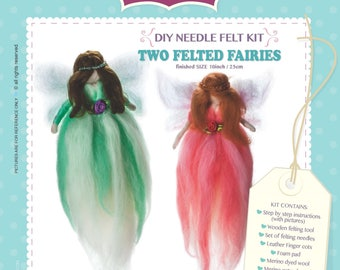 DIY Craft Needle Felt Wool Kit Two Felted Fairies Unique Gift & Family Time