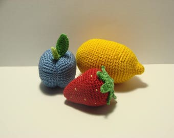 Set of  3 fruits- plum, lemon, strawberry,play food,Kids gift crochet toys,Handmade gifts
