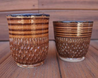 Pottery Tumbler Set, Hand Carved 2 Piece Cup Set, Stoneware Brown Cups