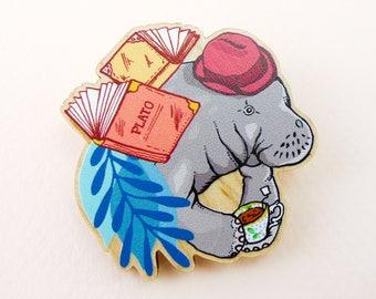 Manatee pin, Manatee gift, animal art, animal jewelry, Manatee jewelry, Manatee, quirky pin, wooden pin, animal brooch, cute brooch