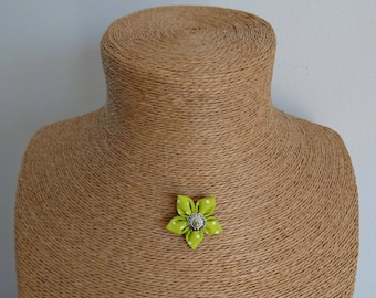 Green white dot fabric Flower necklace