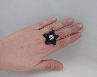 Adjustable black satin fabric flower ring