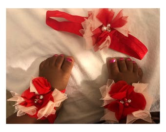 Baby barefoot sandals with matching headband