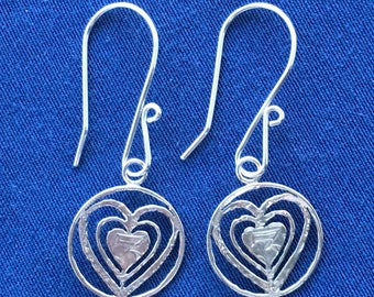 Silver Threepence Hearts Earrings