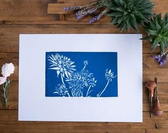 Blue Dahlia Lino Print