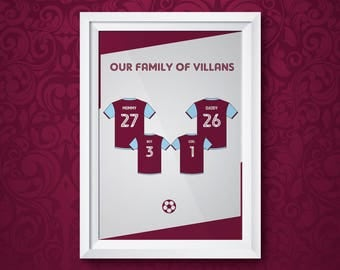 Aston Villa Family Print (A3 UNFRAMED)