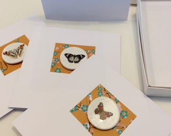 Handmade Porcelain Greetings Cards by Caroline Barnes boxed set of 4 Butterflies and Moths