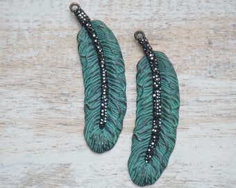 Pave Cz Crystal Patina Feather Pendant, Patina Feather Charm