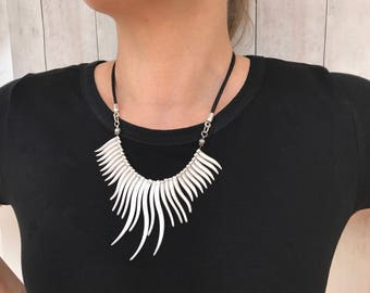 Silver Bib Necklace Statement Necklace Fringe Necklace Leather Necklace Womens Boho Necklace Summer Jewelry Gift for Her Necklace for Women