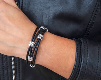 Leather Bracelet for Women Wife Gift Leather Wrap Bracelet Boho Wrap Beaded Wrap Bracelet Leather Bracelet For Her Gift For Girlfriend
