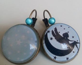 """starry sky"" earrings with pearls"