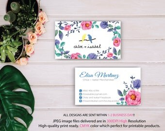 Chloe and Isabel Business Card, Custom Chloe and Isabel Card, Free Personalization, Watercolor Business Card, Printable Business Card CL10