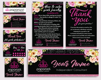 Paparazzi Marketing Bundle, Paparazzi Kit, Floral Flower Cards, Paparazzi Business Cards, Free Personalization, Printable file PP09