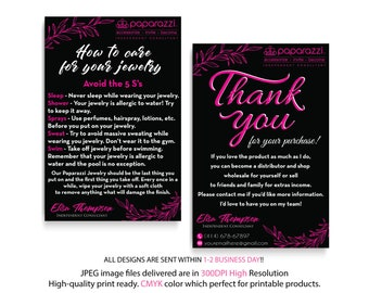 Paparazzi Care Instruction, Paparazzi Thank You Card, Personalized Information, Paparazzi Marketing, Custom Paparazzi Card, Printable PP21