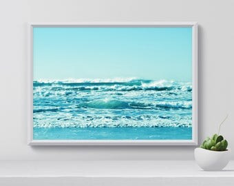 Ocean waves Poster, Beach Poster, Beach Wall Art, Ocean Waves, Digital Print, Nature Photography, Digital Wall Art, home decor, gift for her