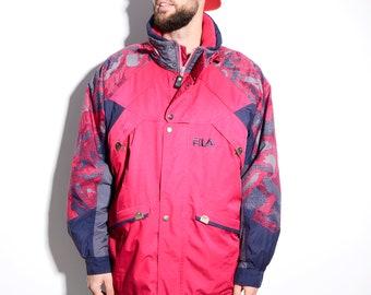 FILA vintage very warm snowboarding hooded ski jacket | Men's pink winter shell coat jacket | Waterproof/windproof/raincoat