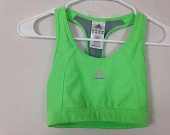 Neon green adidas sports bra size XS