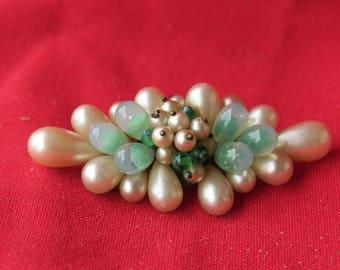 ancien bijoux, broche ancienne jolies perles vertes & nacrées, old jewelry, brooch old pretty pearls