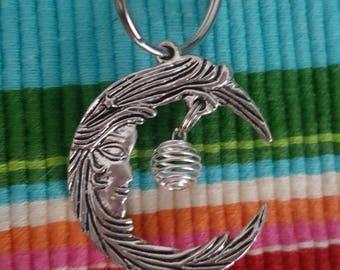 Moon Spiral Bead pearl holder keychain