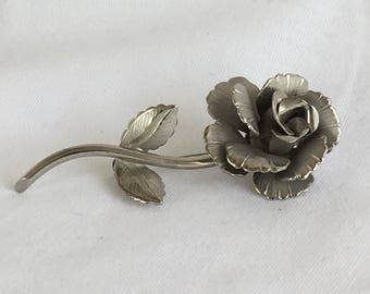 Giovanni Large Rose Brushed Silver Vintage Brooch Pin