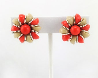 West German Mod Pinwheel Bead Earrings, Tan, Tomato Red, Silver Tone, Clip On, Vintage, 1960s