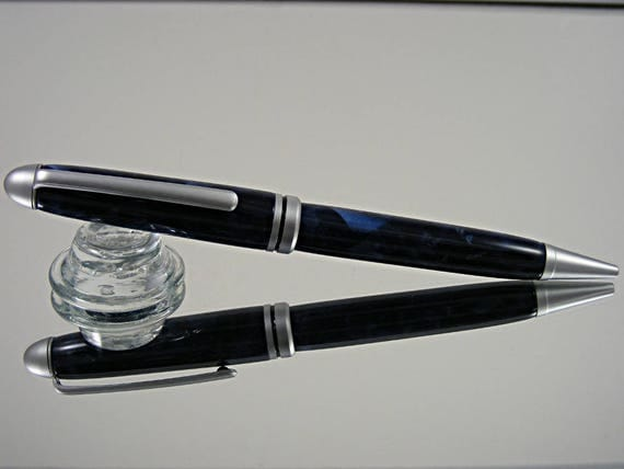 Handcrafted Classic Pen in Satin Chrome and Crushed Blue Pearl Acrylic