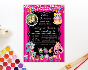Personalized Shopkins Twin Sister Brother Sisters Joint Birthday Party Invitation Invite Card Printable Wishes Jessicake Bubbleisha DIY