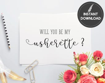 Personalized Usherette Wedding Invitation Will You Be My Usherette Invite Elegant Script Printable DIY - Digital File #ES01
