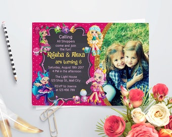 Personalized Shopkins Shoppies Joint Birthday Celebration Photo Card Party Invitation Twin Sisters Siblings Bubbleisha